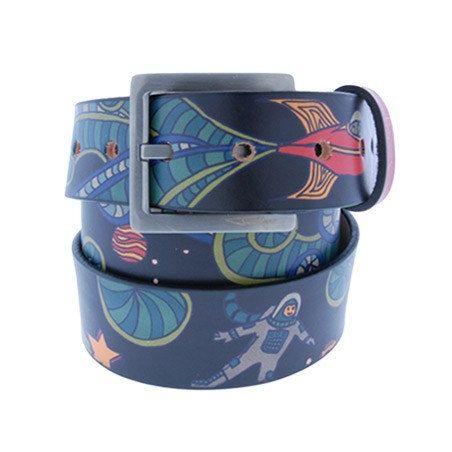 Happy Spaceman Belt Mens Belt Womens Belt Handmade by JonWye (Accessories, Belts & Suspenders, Belts, jon wye, jonwye, belt, leather, leather belt, graffiti, space, spaceman, astronaut, womens belt, mens belt, handmade leather, fathers day gift)