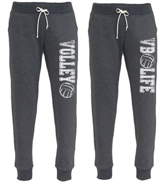 "Volleyball Jogger Sweatpants! The perfect item to hang-out in! * These sweatpants are extremely comfortable made with a soft lightweight terry fleece! * Popular ""JOGGER"" style with tapered legs, rib knit cuffs and waistband. Side Pockets and back patch pocket with skinny drawcord. * 60% cotton / 40% poly * Sizes XSmall through XLarge are WOMEN'S sizes so they run slimmer than our unisex sweatpants!"