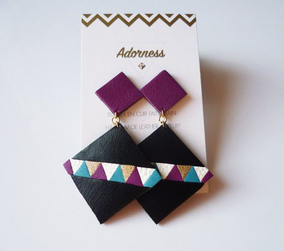Graphic and colorful leather earrings - Upcycling - Handmade - Square - Adorness