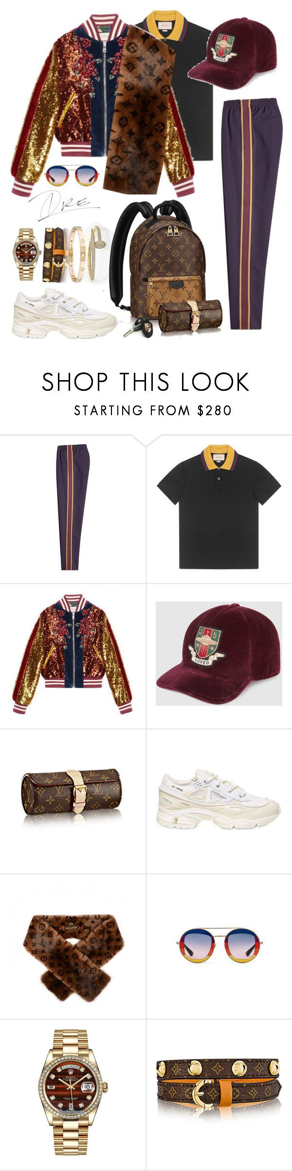 """""""Frat Leader"""" by stylinwitdre ❤ liked on Polyvore featuring Alexander McQueen, Gucci, Louis Vuitton, adidas, Rolex, Cartier, men's fashion and menswear"""