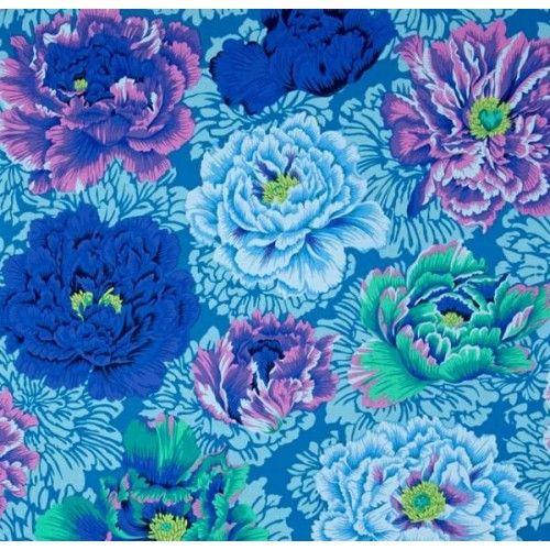 Peony Brocade Cotton Fabric Aqua - Order Online - Fabric Traders