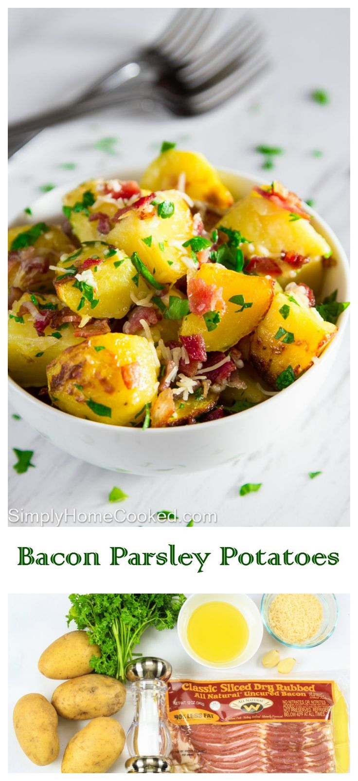 Yukon gold potatoes baked with bacon, Parmesan cheese, and tossed with ...