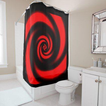 #Black and Red Spiral Design Shower Curtain - #Bathroom #Accessories #home #living