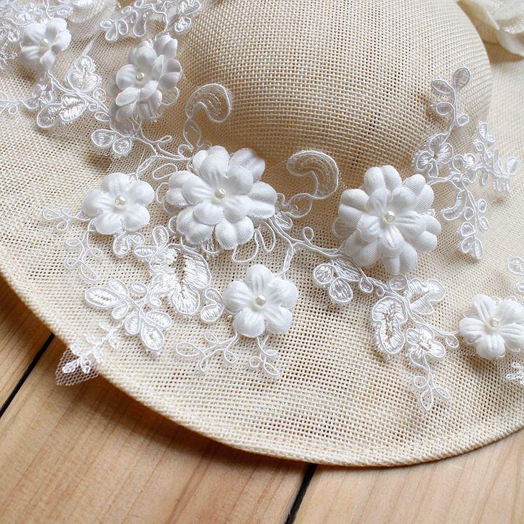 34*18 CM 3d Fee kant applicaties geborduurde licht ivoor geappliceerd lace patches Parels Steentjes kant bloemen voor hoeden kleding