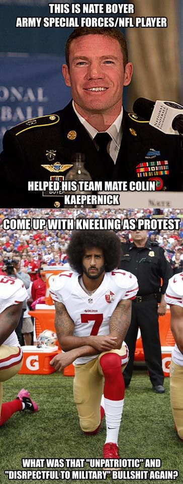Taking a knee is a military sign of respect for the fallen. https://www.cbssports.com/nfl/news/heres-how-nate-boyer-got-colin-kaepernick-to-go-from-sitting-to-kneeling/
