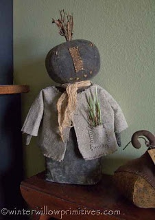 ~ Winter Willow Primitives ~ Under The Willow ~ I also wanted to share with you this fabulous Pumpkin Folk Doll I purchased from my friend Karen...made from a T.F.C. Folk Art pattern