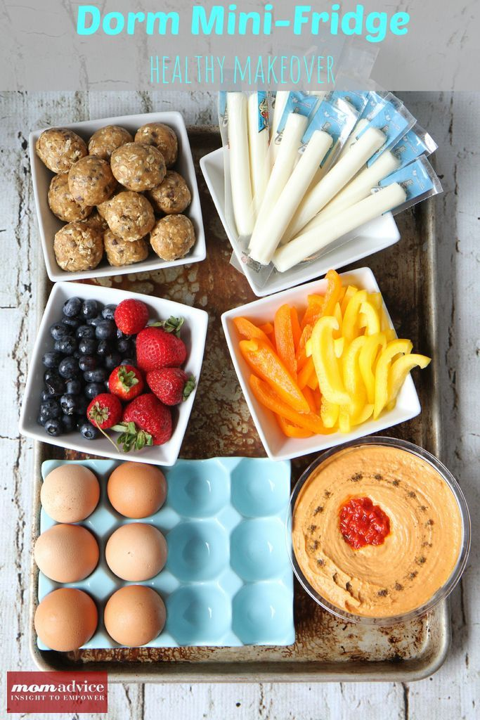 College Dorm Mini-Fridge Healthy Makeover Ideas yummy and healthy snacks for the dorm room fridge. fruit, string cheese, eggs, bell peppers and hummus!