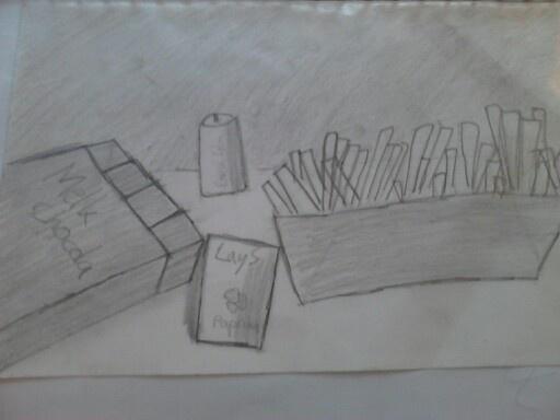 Stilleven in potlood. De tekenaar weet nog niet zo goed hoe vormen in 3-d getekend moeten worden. Ook klopt de schaduwwerking nog niet.