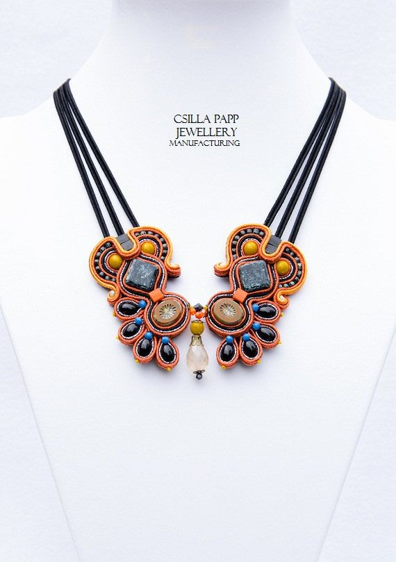 Chasca Hand Embroidered Soutache Necklace in black orange opaque yellow blue with quality beads
