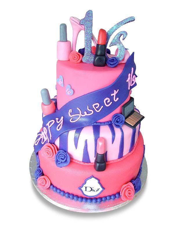 PuurTaart :: Taartengalerij - Verjaardag Sweet Sixteen taart - Birthday cake