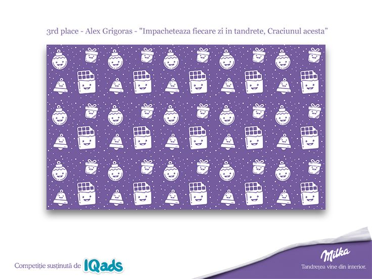 "WINNER - 3rd place for the Milka - ""Impacheteaza fiecare zi in tandrete, Craciunul acesta"" illustration contest on IQads.  Thank you for all the support!"