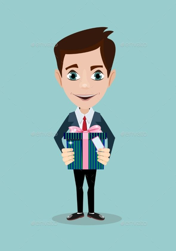 Man Holding Big Gift Box with Bow by Aleksei-Veprev Man holding big gift box with bow. Stock vector illustration