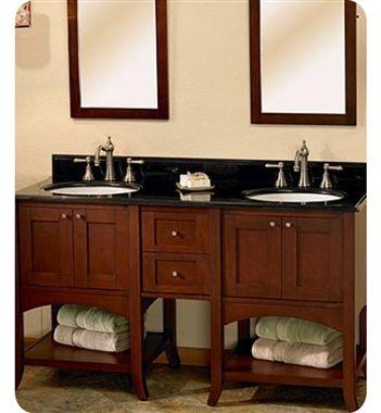 Fairmont Designs Shaker 60 Transitional Double Sink Bathroom Vanity W Open Shelves Dark