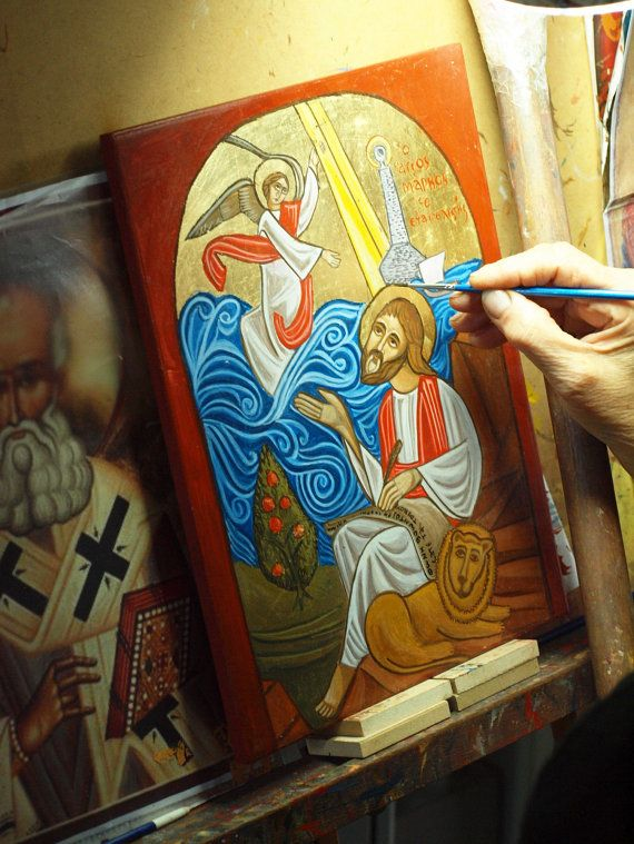 Coptic icon of St Mark the Evangelist Saint Marc  by angelicon