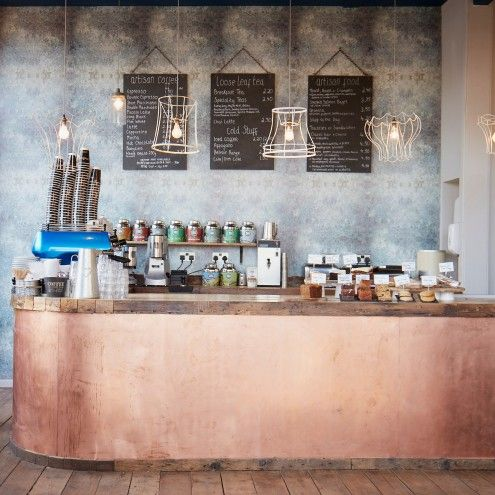 copper barista bar with slate backdrop artisan cafe stamford brook london - Slate Cafe Decoration