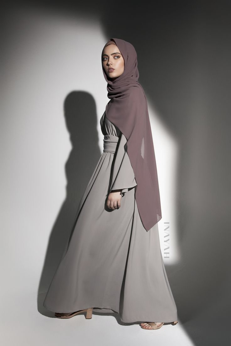 INAYAH | Leading-edge style in this fluid kimono style dress. - Flint Grey #Kimono with Basque Detail + Dusty Ash Soft Crepe #Hijab - www.inayah.co