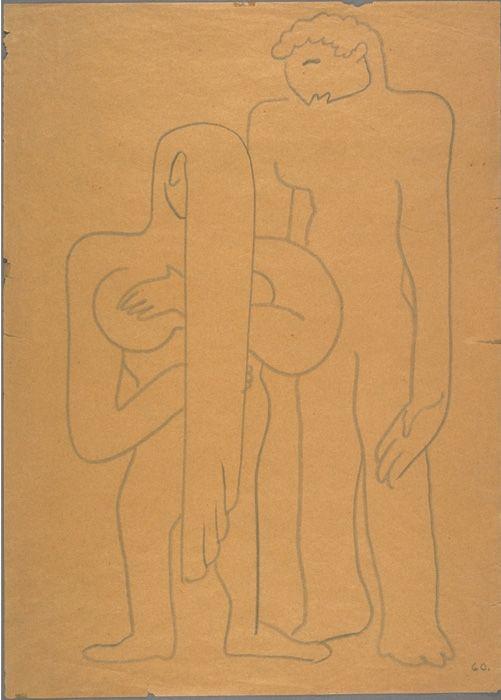 """Dessin d'Eisenstein """"Adam et Eve"""""""