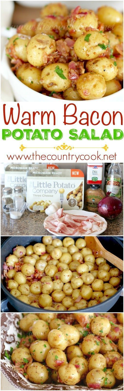 Warm Bacon Potato Salad recipe from The Country Cook. It's similar to a German Potato Salad. Perfect for a picnic or BBQ since I don't have to worry about any mayo sitting out. I love the dressing on this! #potato #recipes #easy #sidedish
