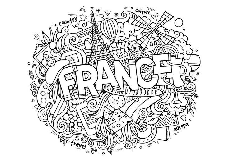 Раскраска  антистресс -Франция. Скачать антистресс.  Распечатать антистресс