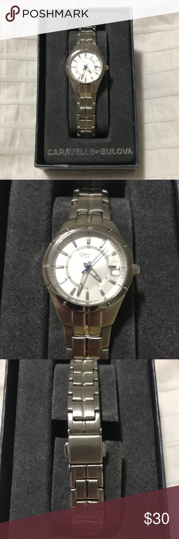 Women's silver watch Women's silver Caravelle by Bulova watch with clasp Jewelry Bracelets