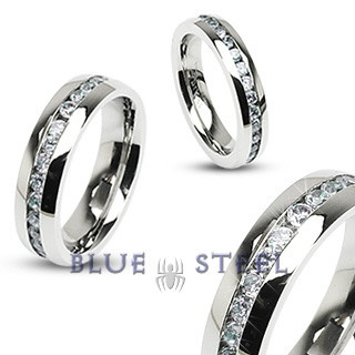 PIN IT TO WIN IT! Eternity :No other ring shows off your passion quite like our Eternity ring. Stainless Steel with a center stone design showcases your everlasting love.  $79.99  www.buybluesteel.com #bluesteel