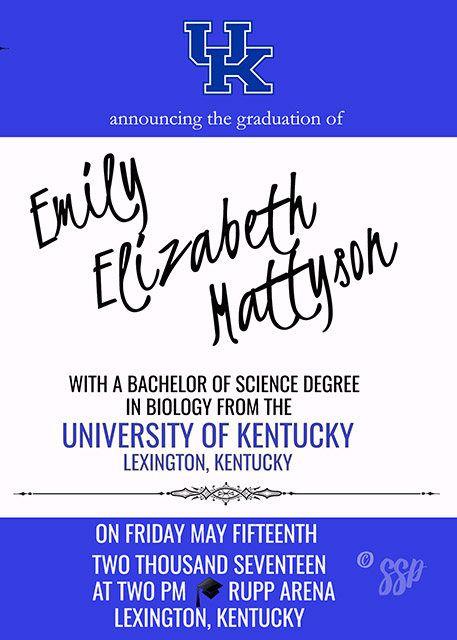 University of Kentucky UK College Graduation KY Invitation
