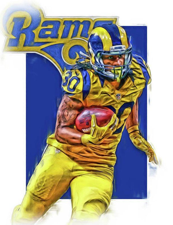 Todd Gurley Print featuring the mixed media Todd Gurley Los Angeles Rams Oil Art by Joe Hamilton