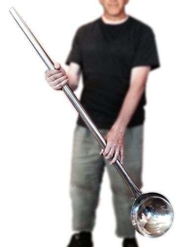 Giant Oversized Ladle Large Pot Spoon Almost 4 Feet Long Big Spoon Industrial Soup Kitchen Spoon Cucharon Grande Extra Large Laddle Big Stainless Steel Stock Pot Spoon Plus Chuys Recipe Book *** Check out the image by visiting the link.