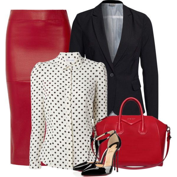 Leather office skirt by danigrll on Polyvore featuring moda, RED Valentino, Vero Moda, Zero + Maria Cornejo, Christian Louboutin and Givenchy