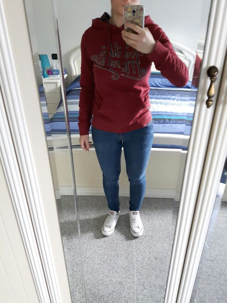 Outfit of the day, Franklin And Marshall sweater, Bershka push up jeans, white Converse All Star, outfit ideas, girl, girls.
