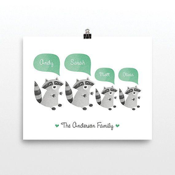 Waschbär personalisierte Familie Kunstdruck von HappyCatPrintables