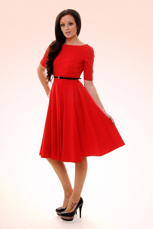 lovely boatneck half-sleeve red dress. Love this style