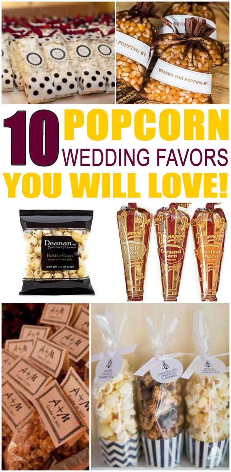 Wedding Favors! Popcorn wedding favor ideas that your guests will love! Find ideas from DIY, cheap, creative, unique, inexpensive, elegant, classy, useful and more. Pick a wedding shower favor idea for guests that they will be happy to take home. Find the best Popcorn wedding favor ideas now!
