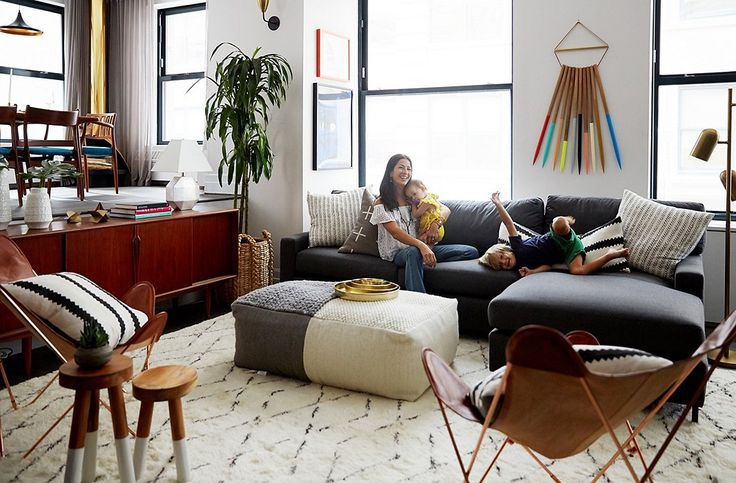 One Kings Lane Vibrant Makeover of Rebecca Minkoff's Apartment. Easy going, liveable, kid-friebdly living space with mid century mod pieces.