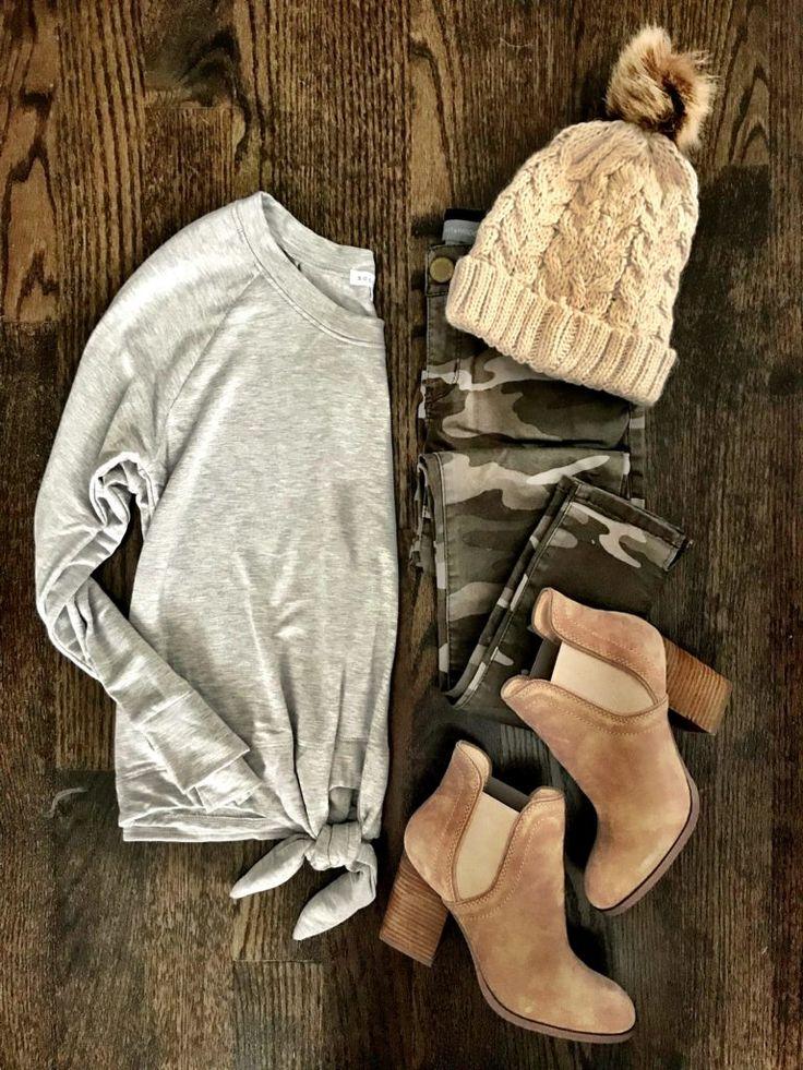 IG: @mrscasual | Gray tie top, camo jeans, booties, & beige beanie