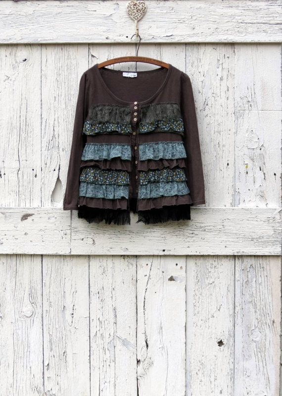 upcycled gray cardigan romantic cotton sweater boho by wearlovenow, $48.00