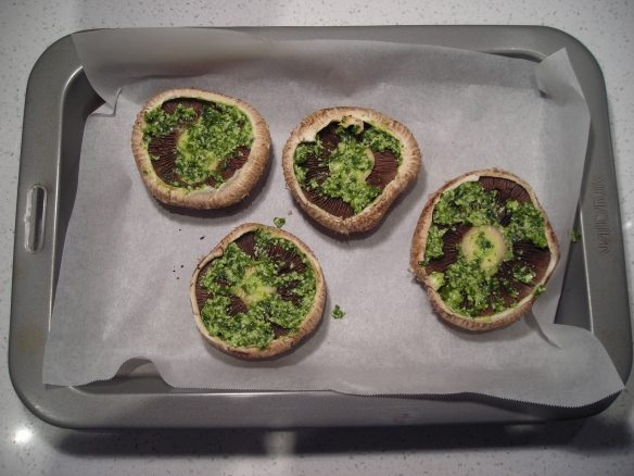 Baked Brie Portabello Mushrooms (serves 4 as a starter) 4 portabello mushrooms 2 Tbsp pesto 4 large slices brie So, this isn't really a recipe. Smear 1/2 Tbsp of pesto on each mushroom and plonk a slice of brie on top. Preheat the oven to about 200 (C), force fan if you can, and bake for 5-10 minutes. Drizzle with olive or avocado oil to serve.