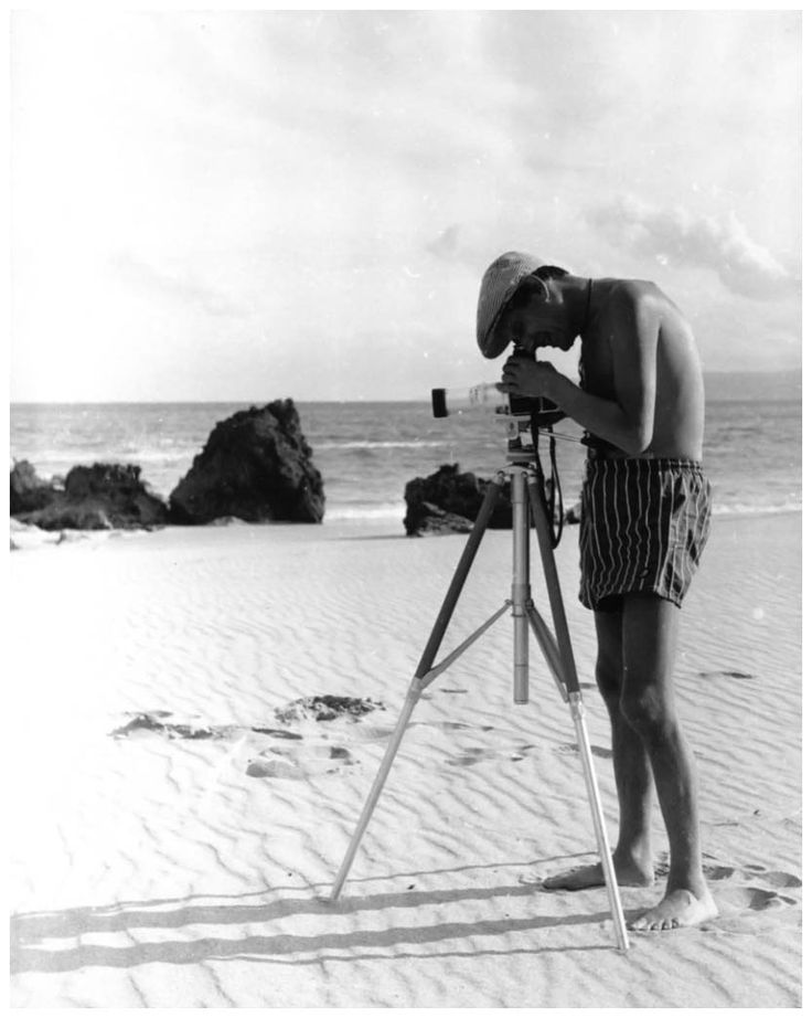 Photograph of Helmut NEWTON by model Janice Wakely, taken at Lorne, near Melbourne, 1959