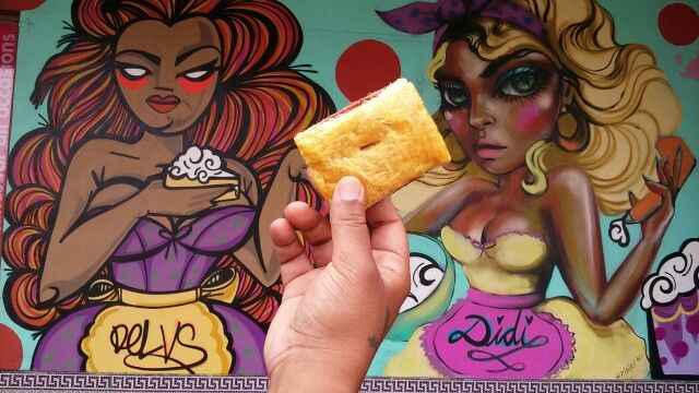 Eating Guava and Cheese pastelito in Little Havana - Calle Ocho 2016
