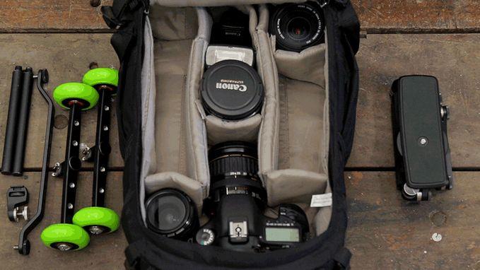 Loki modular camera rig fits in a camera bag.