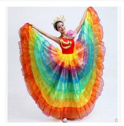 rainbow-colorful-dance-costume-wear-font-b-Spanish-b-font-bull-dance-dress-expansion-skirt-costume.jpg (426×433)