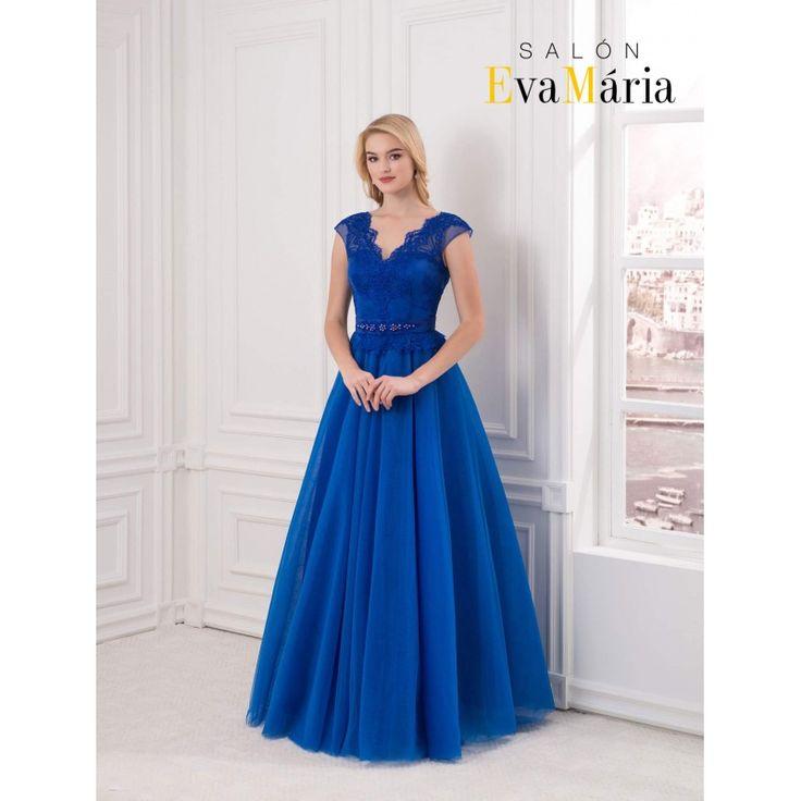 Kráľovsky modré večerné šaty s veľkou sukňou