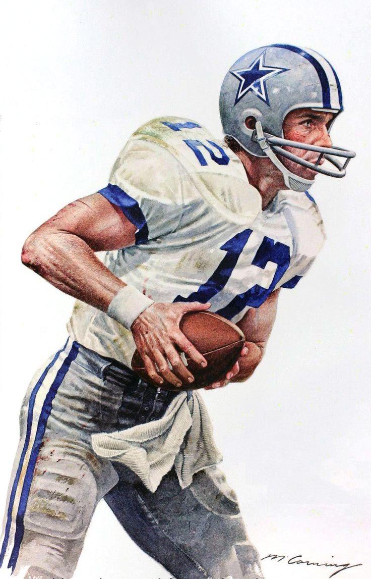 Dallas Cowboys QB Roger Roger Staubach painted by Merv Corning
