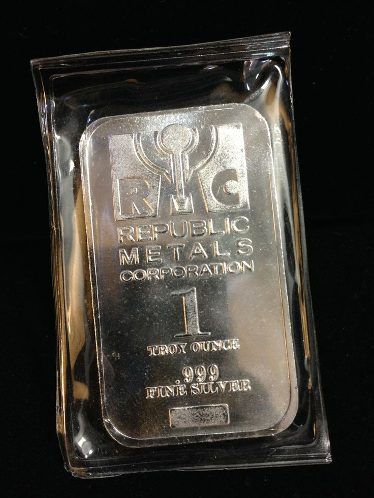 Republic Metals Corporation 1 Troy Ounce Silver Bar 1 oz RMC silver bar is in original sealed condition, we receive each direct from the mint. Republic Metals Corporation is a respected mint that produces .999 silver products.  Specifications Metal: AG Brand: Republic Metals Weight: 1 oz. Purity: 99.9% Silver Condition: New Brand: RMC Shipping: Free Shipping on all orders within the United States #sellmygold #fortmyersgold