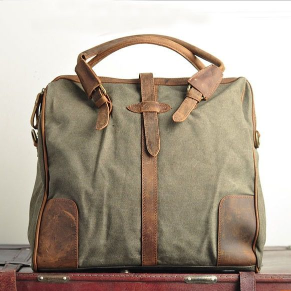 "Vintage Handmade Antique Leather Canvas Briefcase / Messenger / 17' Laptop / 13"" 15"" 17' MacBook Bag"