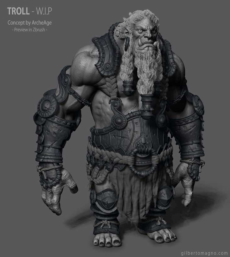 Character Design Zbrush Course : Troll archeage wip gilberto magno on artstation at