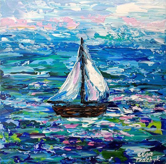 Beach Artwork Aqua Turquoise Sailboat Print Ocean Canvas Art Sailing Photo Mint Wall Art Coastal Cottage Decor Nautical Nursery