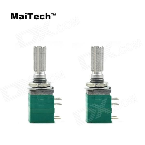 MaiTech 8-Pin B50K Potentiometer w/ Switch - Green (2 PCS). Electrical Characteristics; Total Resistance: 10K ohm~500K ohm; Total Resistance Tolerance: +/- 20%; Characteristic impedance type: A, B, C, D; Maximum working voltage: AC 50V, DC 10V; Power Rating: B linear: 0.05W other linear: 0.025W; Noise: Less than 100mV; Insulation resistance: More than 100M ohm at DC 250V; Withstanding Voltage: 1 minute at AC 300V; Residual resistance: Term.1~2: Less than 20 ohm Term. 2~3: Less than 20 ohm…