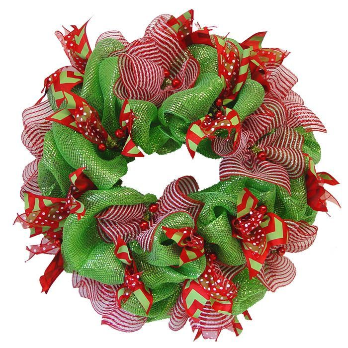 basic-green-mesh-ribbon-wreath. Diy how to.