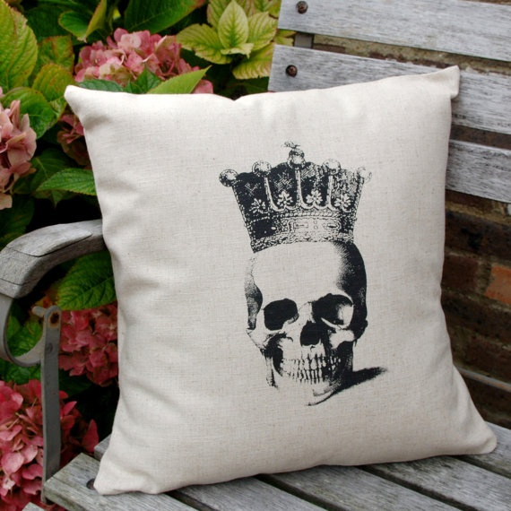 Hand Screen Printed Skull Cushion Cover by beetrootshed on Etsy, $43.00